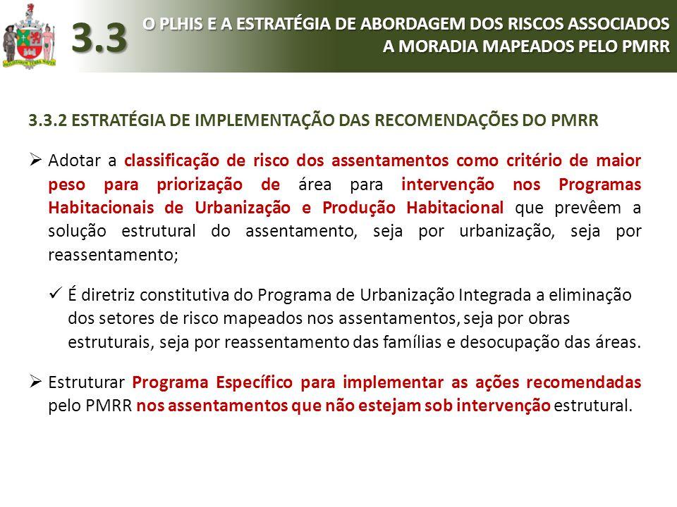3.3.2 ESTRATÉGIA DE IMPLEMENTAÇÃO DAS RECOMENDAÇÕES DO PMRR  Adotar a classificação de risco dos assentamentos como critério de maior peso para prior