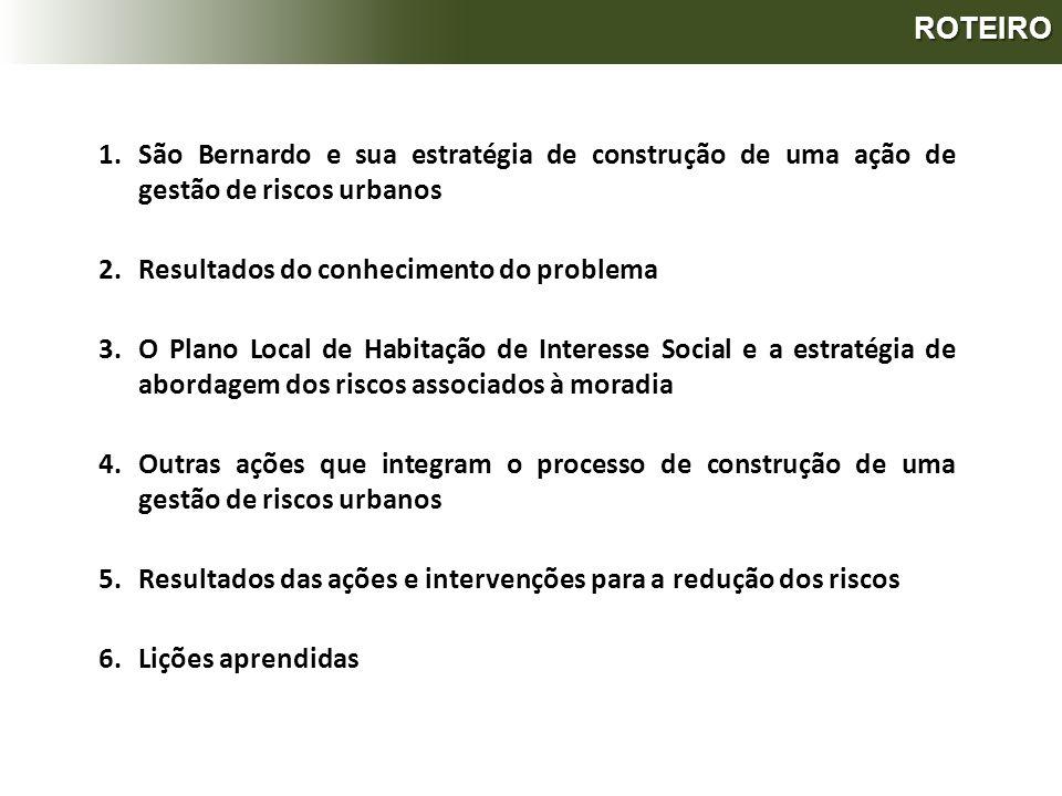 ROTEIRO 1.São Bernardo e sua estratégia de construção de uma ação de gestão de riscos urbanos 2.Resultados do conhecimento do problema 3.O Plano Local