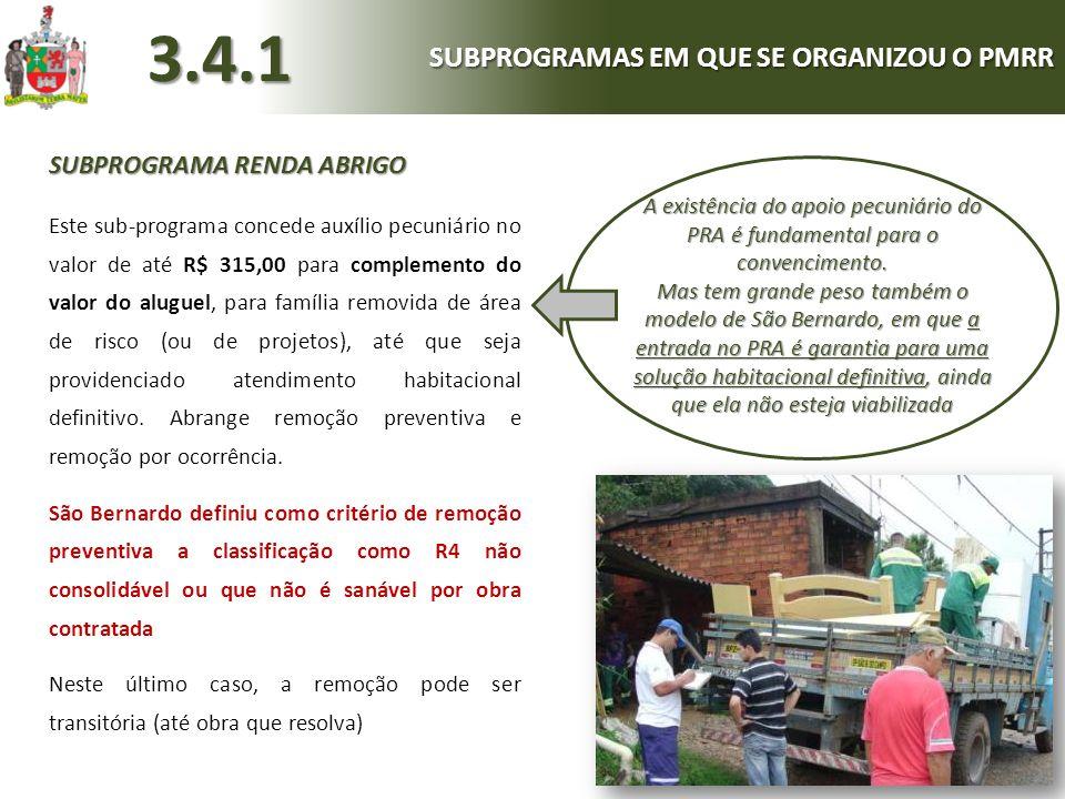 SUBPROGRAMA RENDA ABRIGO Este sub-programa concede auxílio pecuniário no valor de até R$ 315,00 para complemento do valor do aluguel, para família rem