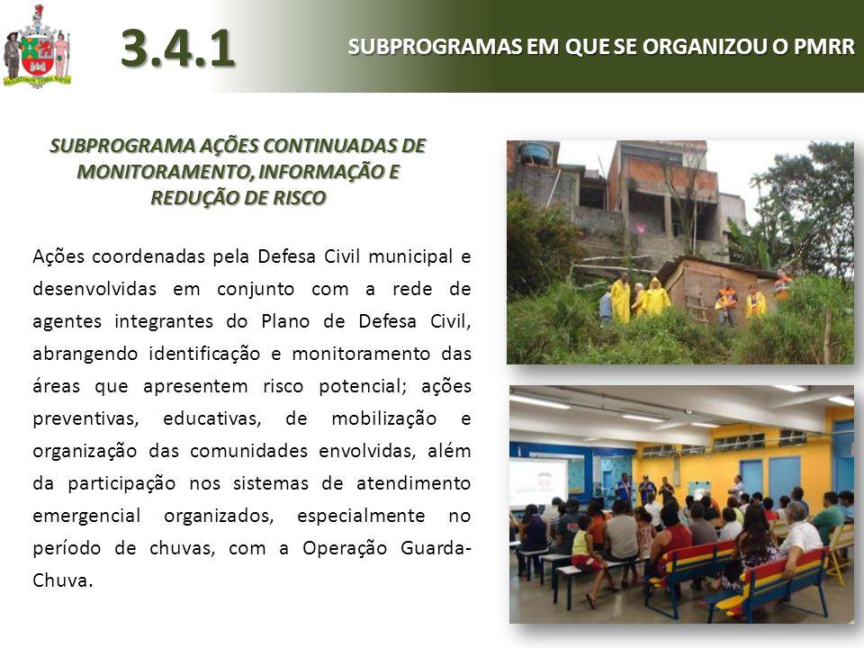 SUBPROGRAMA AÇÕES CONTINUADAS DE MONITORAMENTO, INFORMAÇÃO E REDUÇÃO DE RISCO Ações coordenadas pela Defesa Civil municipal e desenvolvidas em conjunt