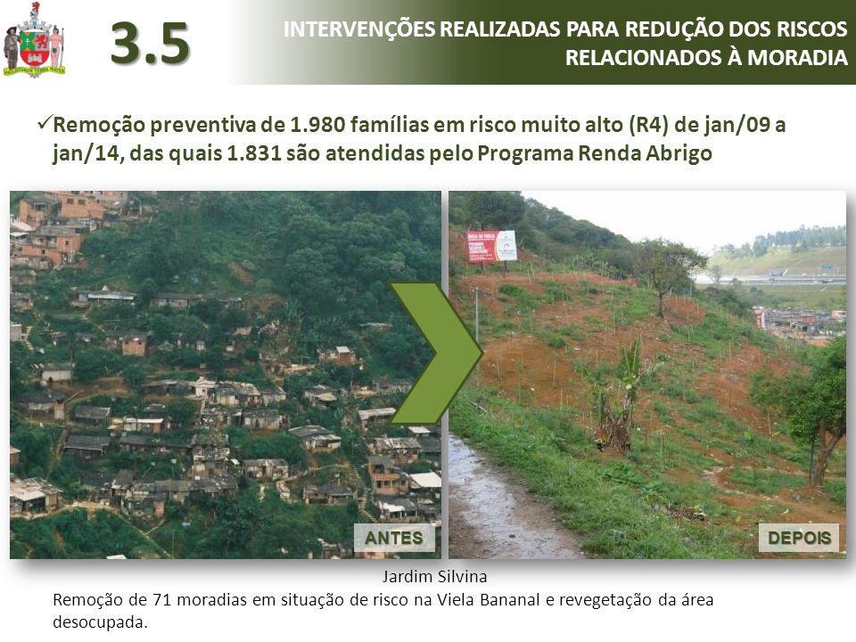 DEPOISANTES Jardim Silvina Remoção de 71 moradias em situação de risco na Viela Bananal e revegetação da área desocupada.  Remoção preventiva de 1.98