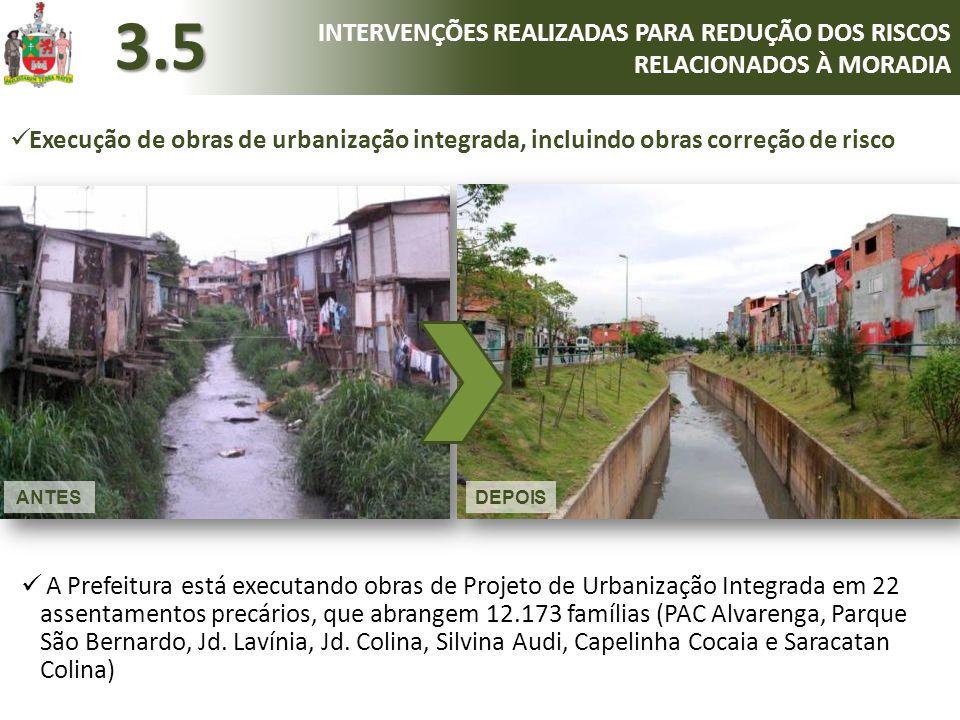 A Prefeitura está executando obras de Projeto de Urbanização Integrada em 22 assentamentos precários, que abrangem 12.173 famílias (PAC Alvarenga, P