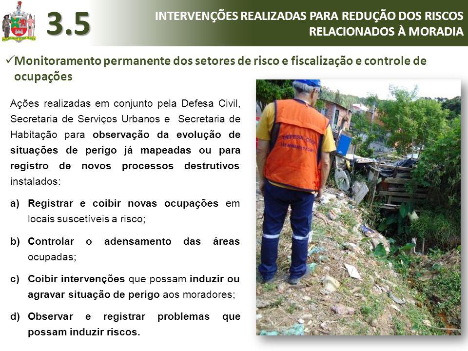 Ações realizadas em conjunto pela Defesa Civil, Secretaria de Serviços Urbanos e Secretaria de Habitação para observação da evolução de situações de p