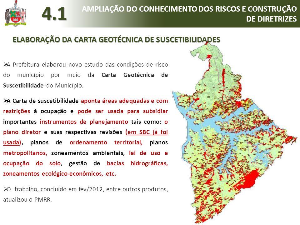  A Prefeitura elaborou novo estudo das condições de risco do município por meio da Carta Geotécnica de Suscetibilidade do Município.  A Carta de sus