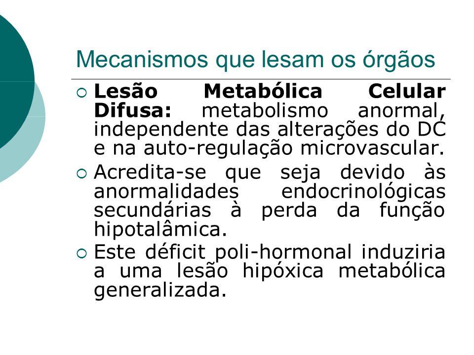 Mecanismos que lesam os órgãos  Lesão Metabólica Celular Difusa: metabolismo anormal, independente das alterações do DC e na auto-regulação microvascular.