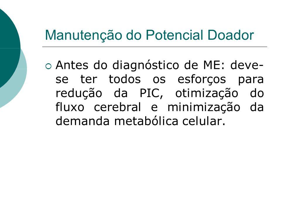 Manutenção do Potencial Doador  Antes do diagnóstico de ME: deve- se ter todos os esforços para redução da PIC, otimização do fluxo cerebral e minimização da demanda metabólica celular.