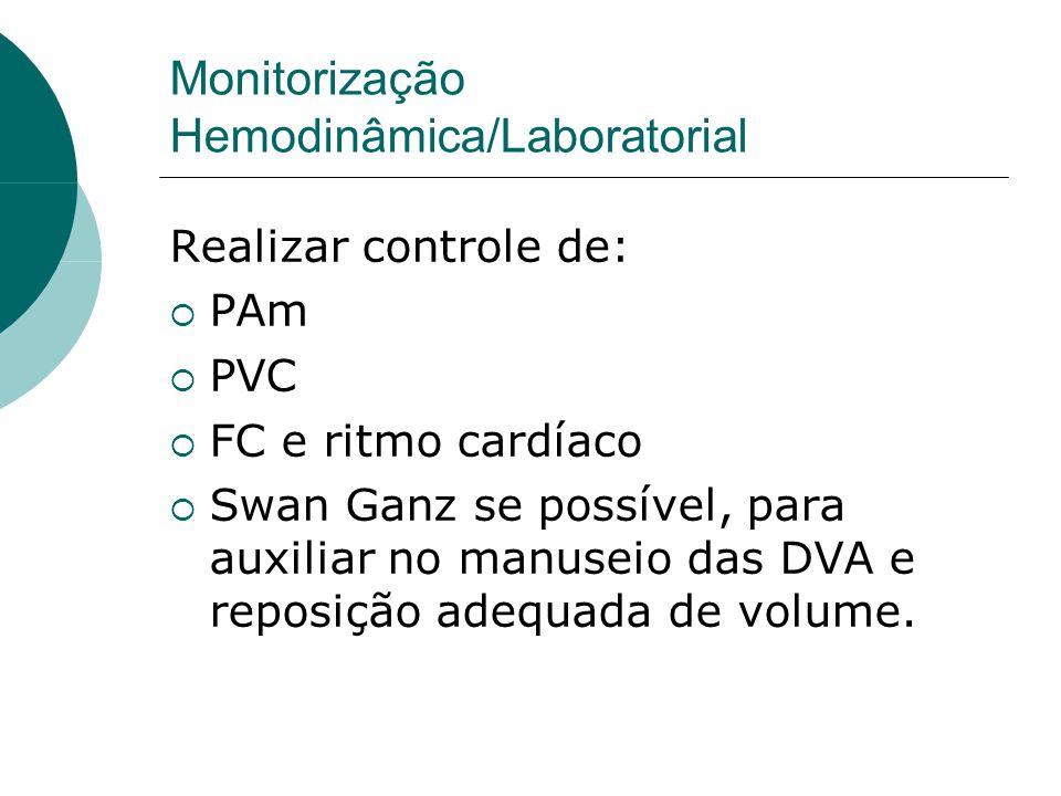 Monitorização Hemodinâmica/Laboratorial Realizar controle de:  PAm  PVC  FC e ritmo cardíaco  Swan Ganz se possível, para auxiliar no manuseio das DVA e reposição adequada de volume.