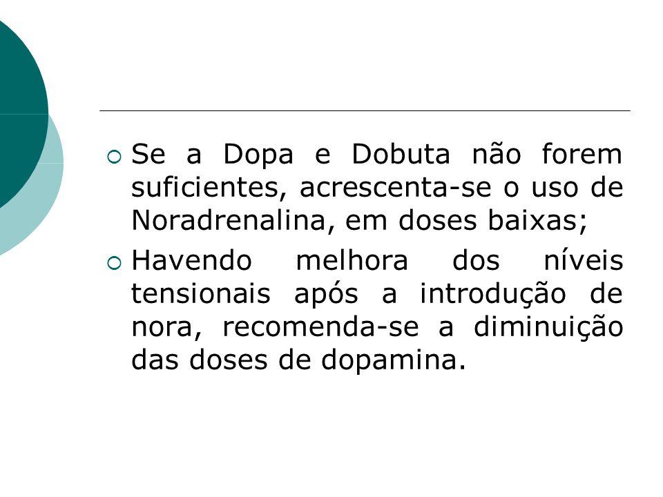  Se a Dopa e Dobuta não forem suficientes, acrescenta-se o uso de Noradrenalina, em doses baixas;  Havendo melhora dos níveis tensionais após a introdução de nora, recomenda-se a diminuição das doses de dopamina.