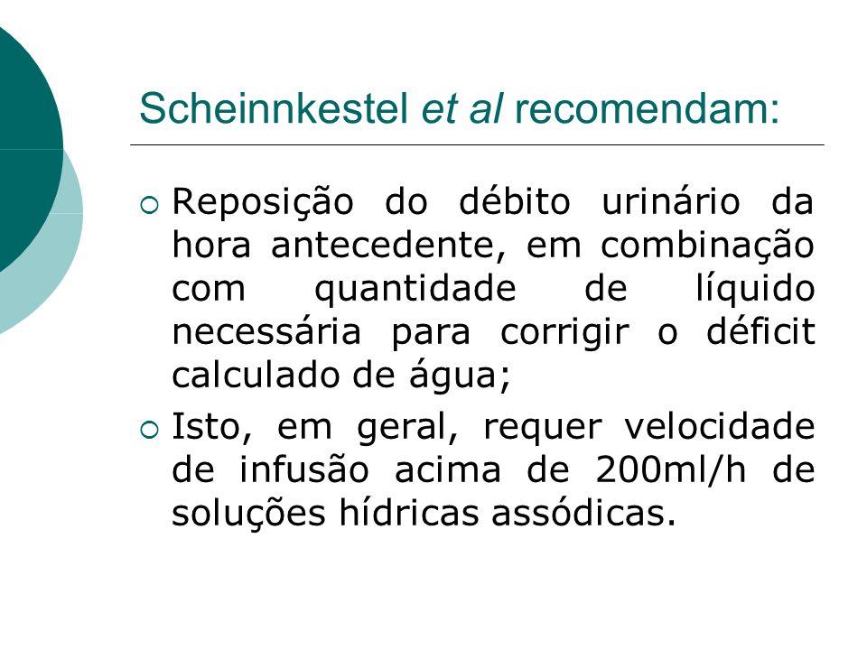 Scheinnkestel et al recomendam:  Reposição do débito urinário da hora antecedente, em combinação com quantidade de líquido necessária para corrigir o déficit calculado de água;  Isto, em geral, requer velocidade de infusão acima de 200ml/h de soluções hídricas assódicas.