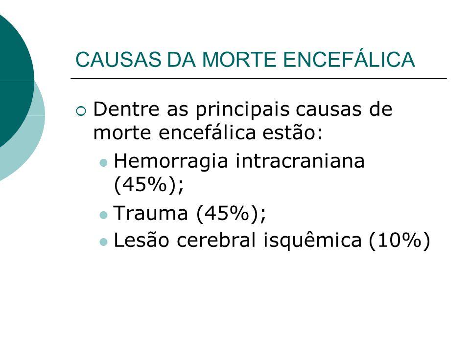CAUSAS DA MORTE ENCEFÁLICA  Dentre as principais causas de morte encefálica estão:  Hemorragia intracraniana (45%);  Trauma (45%);  Lesão cerebral isquêmica (10%) 