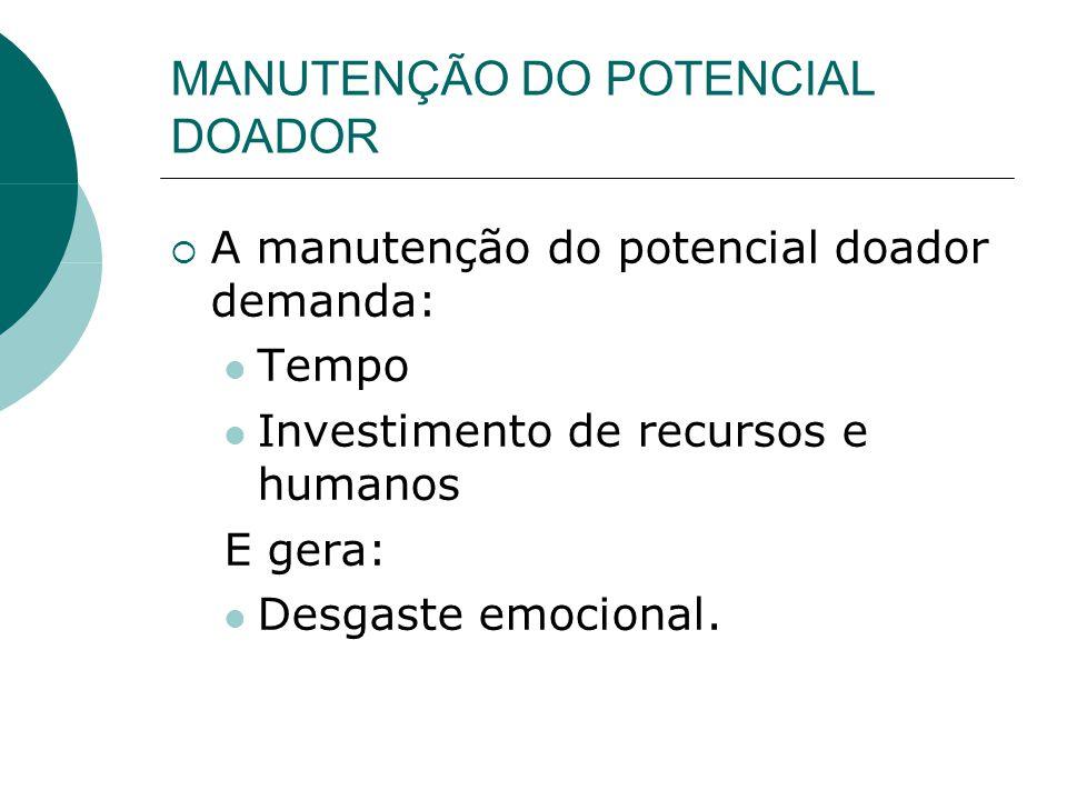 MANUTENÇÃO DO POTENCIAL DOADOR  A manutenção do potencial doador demanda:  Tempo  Investimento de recursos e humanos E gera:  Desgaste emocional.