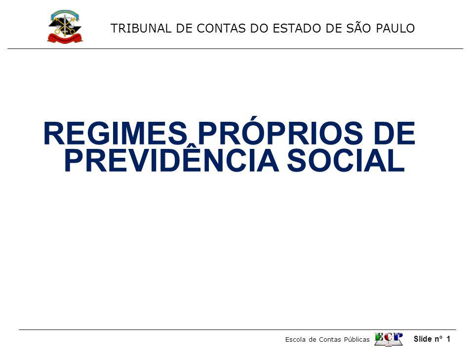 TRIBUNAL DE CONTAS DO ESTADO DE SÃO PAULO Escola de Contas Públicas Slide nº 1 REGIMES PRÓPRIOS DE PREVIDÊNCIA SOCIAL