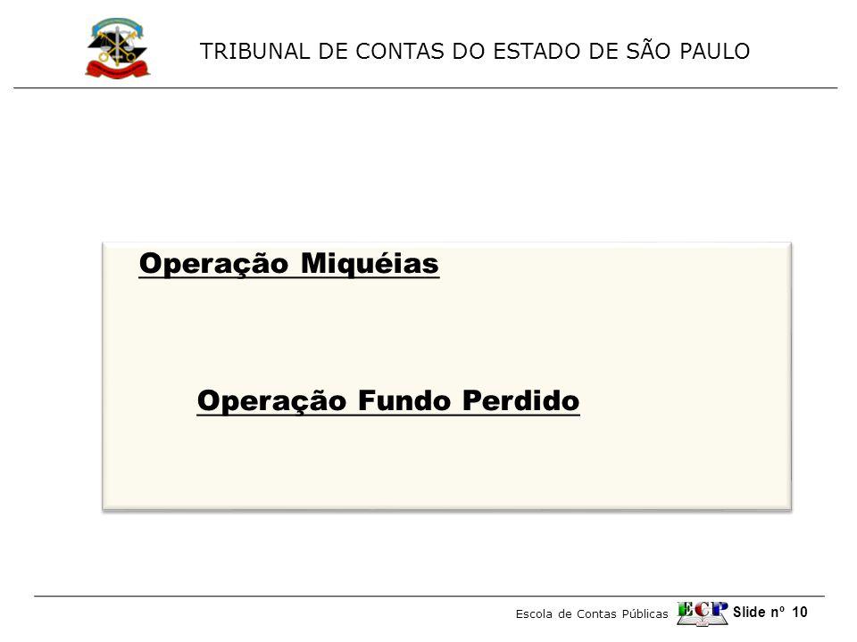 TRIBUNAL DE CONTAS DO ESTADO DE SÃO PAULO Escola de Contas Públicas Slide nº 10 Operação Miquéias Operação Fundo Perdido Operação Miquéias Operação Fu