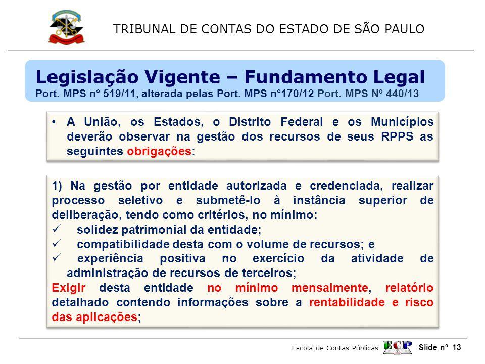 TRIBUNAL DE CONTAS DO ESTADO DE SÃO PAULO Escola de Contas Públicas Slide nº 13 •A União, os Estados, o Distrito Federal e os Municípios deverão obser