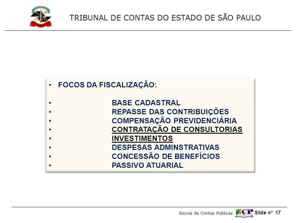 TRIBUNAL DE CONTAS DO ESTADO DE SÃO PAULO Escola de Contas Públicas Slide nº 17 •FOCOS DA FISCALIZAÇÃO: • BASE CADASTRAL • REPASSE DAS CONTRIBUIÇÕES • COMPENSAÇÃO PREVIDENCIÁRIA • CONTRATAÇÃO DE CONSULTORIAS • INVESTIMENTOS • DESPESAS ADMINSTRATIVAS • CONCESSÃO DE BENEFÍCIOS • PASSIVO ATUARIAL •FOCOS DA FISCALIZAÇÃO: • BASE CADASTRAL • REPASSE DAS CONTRIBUIÇÕES • COMPENSAÇÃO PREVIDENCIÁRIA • CONTRATAÇÃO DE CONSULTORIAS • INVESTIMENTOS • DESPESAS ADMINSTRATIVAS • CONCESSÃO DE BENEFÍCIOS • PASSIVO ATUARIAL