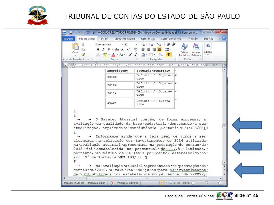 TRIBUNAL DE CONTAS DO ESTADO DE SÃO PAULO Escola de Contas Públicas Slide nº 45