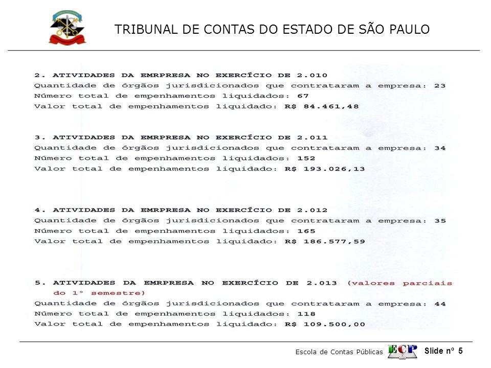 TRIBUNAL DE CONTAS DO ESTADO DE SÃO PAULO Escola de Contas Públicas Slide nº 56
