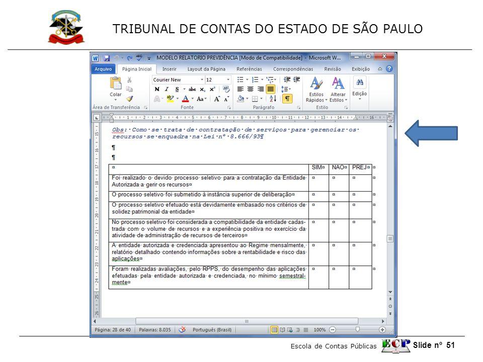 TRIBUNAL DE CONTAS DO ESTADO DE SÃO PAULO Escola de Contas Públicas Slide nº 51