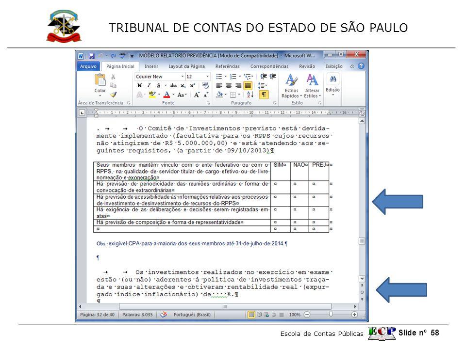 TRIBUNAL DE CONTAS DO ESTADO DE SÃO PAULO Escola de Contas Públicas Slide nº 58