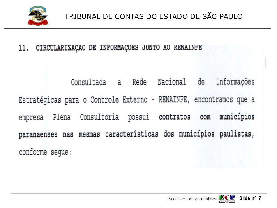 TRIBUNAL DE CONTAS DO ESTADO DE SÃO PAULO Escola de Contas Públicas Slide nº 18 MODELO DE RELATÓRIO