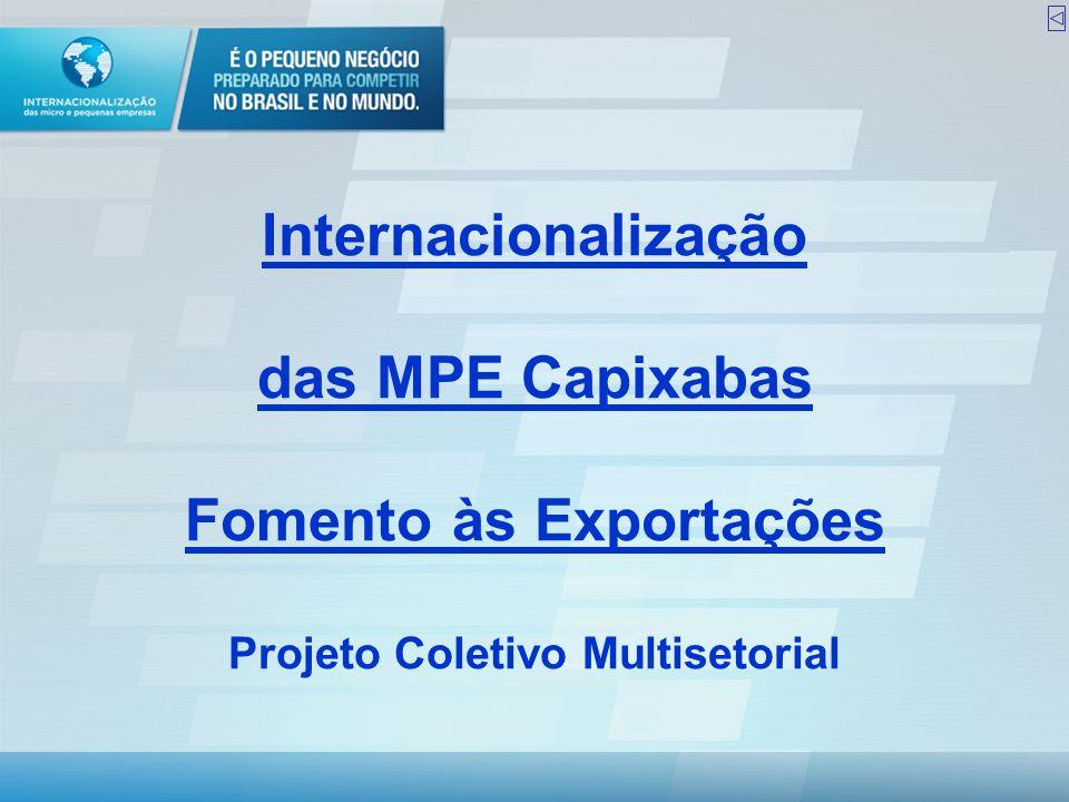 Objetivo geral •Alavancar a capacidade exportadora de 100 MPE Capixabas para que passem a atuar no comércio internacional com sustentabilidade