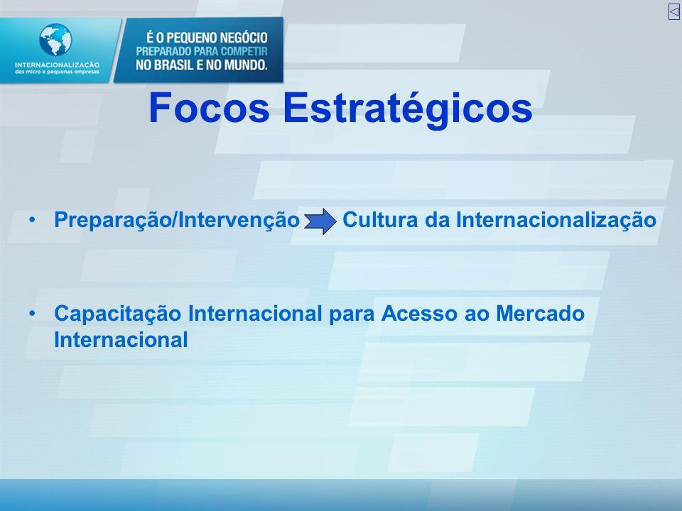 Focos Estratégicos •Preparação/Intervenção Cultura da Internacionalização •Capacitação Internacional para Acesso ao Mercado Internacional