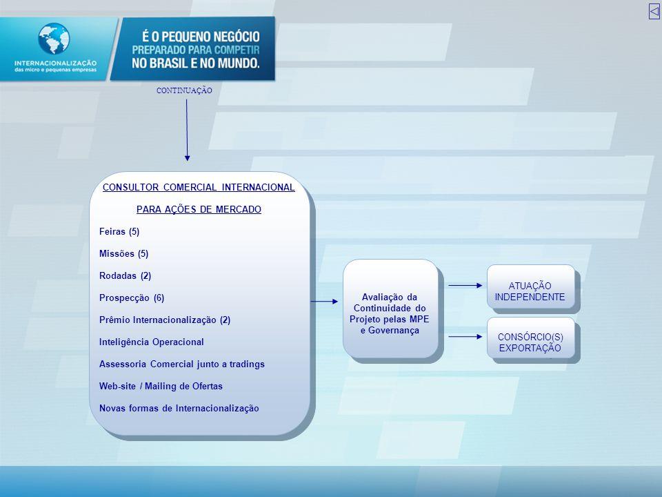 CONSULTOR COMERCIAL INTERNACIONAL PARA AÇÕES DE MERCADO Feiras (5) Missões (5) Rodadas (2) Prospecção (6) Prêmio Internacionalização (2) Inteligência