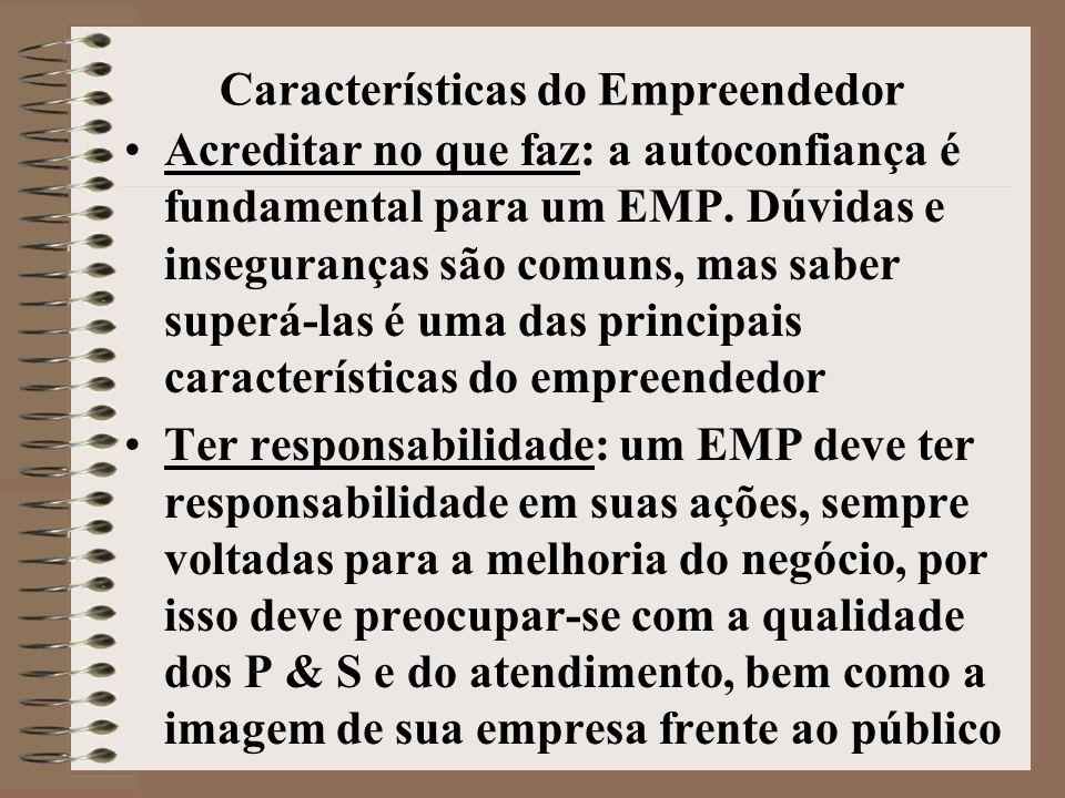 Características do Empreendedor •Acreditar no que faz: a autoconfiança é fundamental para um EMP.