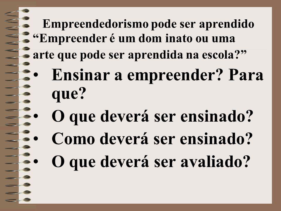 Empreendedorismo pode ser aprendido Empreender é um dom inato ou uma arte que pode ser aprendida na escola? •Ensinar a empreender.