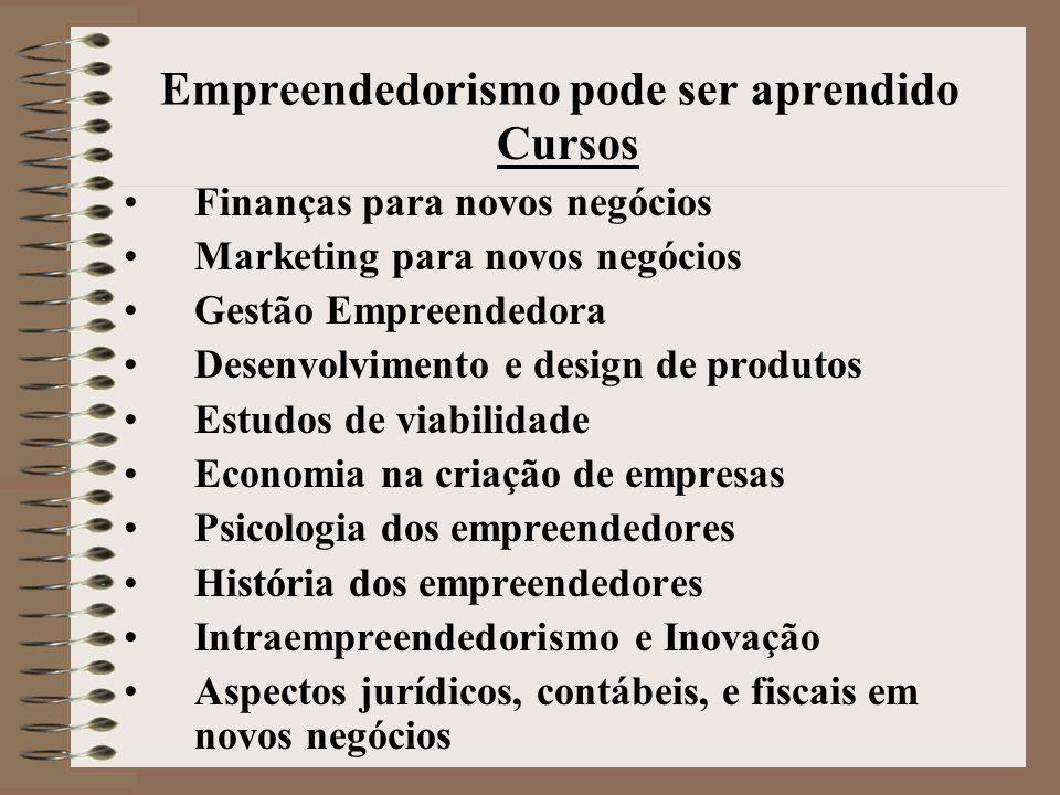 Empreendedorismo pode ser aprendido Cursos •Finanças para novos negócios •Marketing para novos negócios •Gestão Empreendedora •Desenvolvimento e desig