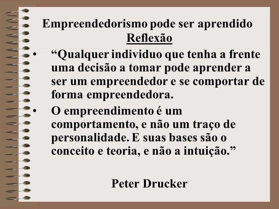 Empreendedorismo pode ser aprendido Reflexão • Qualquer individuo que tenha a frente uma decisão a tomar pode aprender a ser um empreendedor e se comportar de forma empreendedora.