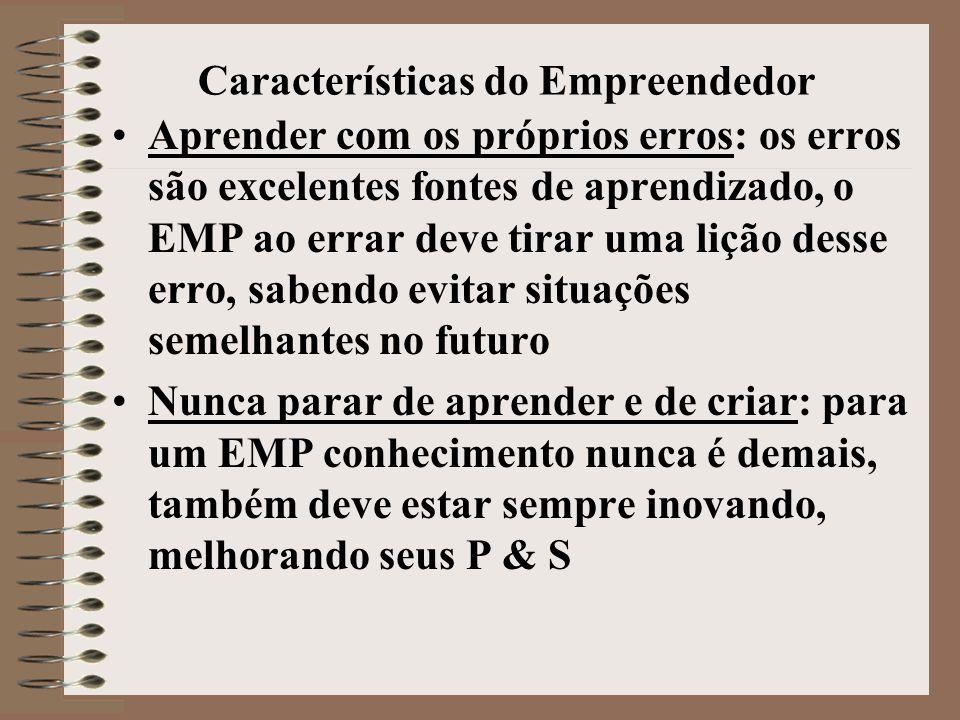 Características do Empreendedor •Aprender com os próprios erros: os erros são excelentes fontes de aprendizado, o EMP ao errar deve tirar uma lição de