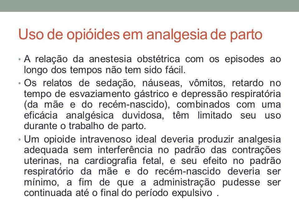 Uso de opióides em analgesia de parto • A relação da anestesia obstétrica com os episodes ao longo dos tempos não tem sido fácil.