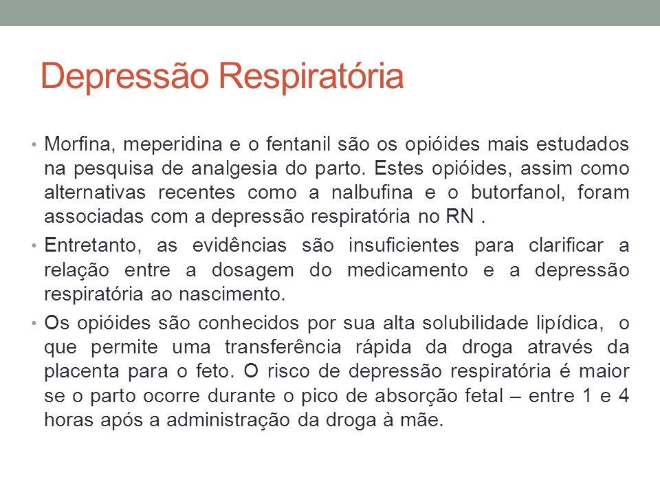Depressão Respiratória • Morfina, meperidina e o fentanil são os opióides mais estudados na pesquisa de analgesia do parto.