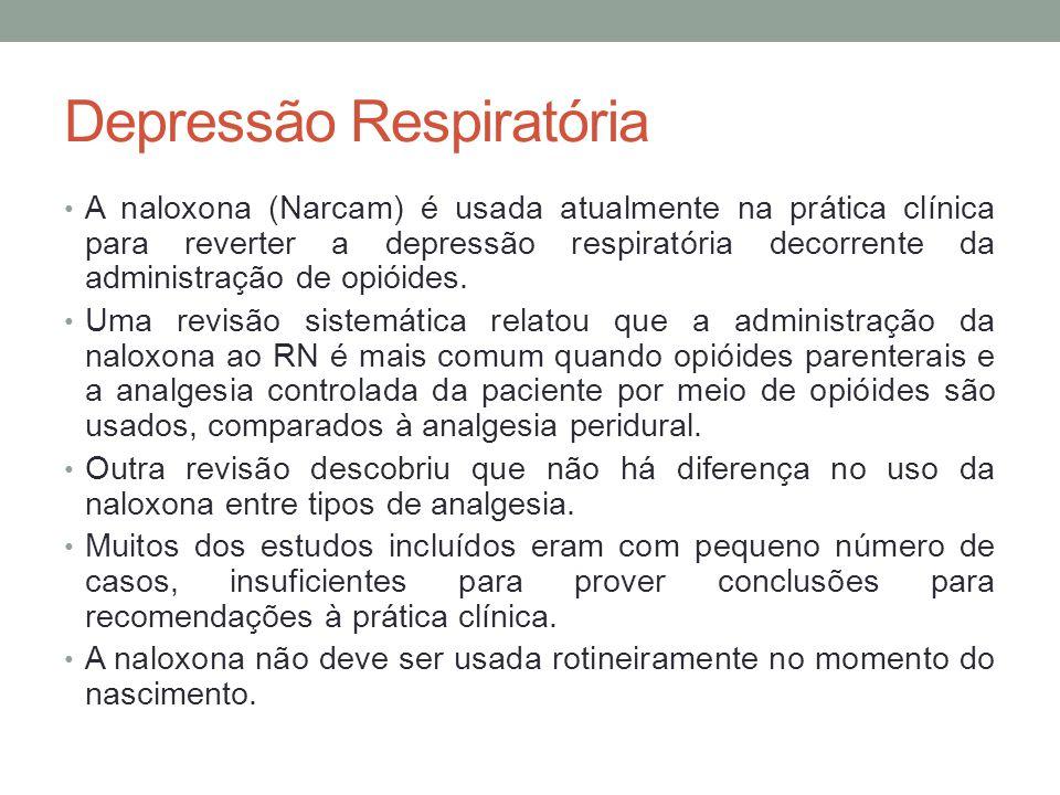 Depressão Respiratória • A naloxona (Narcam) é usada atualmente na prática clínica para reverter a depressão respiratória decorrente da administração de opióides.