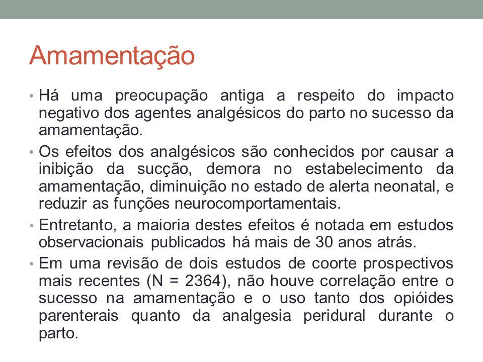 Amamentação • Há uma preocupação antiga a respeito do impacto negativo dos agentes analgésicos do parto no sucesso da amamentação.