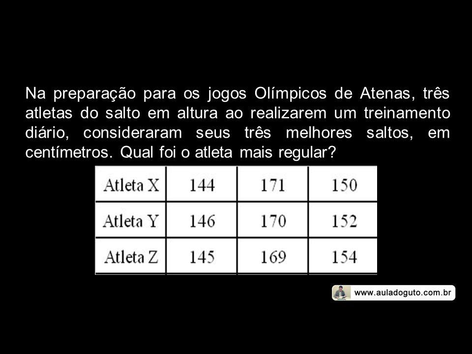Na preparação para os jogos Olímpicos de Atenas, três atletas do salto em altura ao realizarem um treinamento diário, consideraram seus três melhores