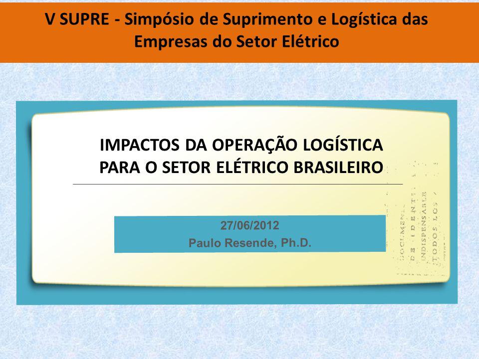 V SUPRE - Simpósio de Suprimento e Logística das Empresas do Setor Elétrico 27/06/2012 Paulo Resende, Ph.D.