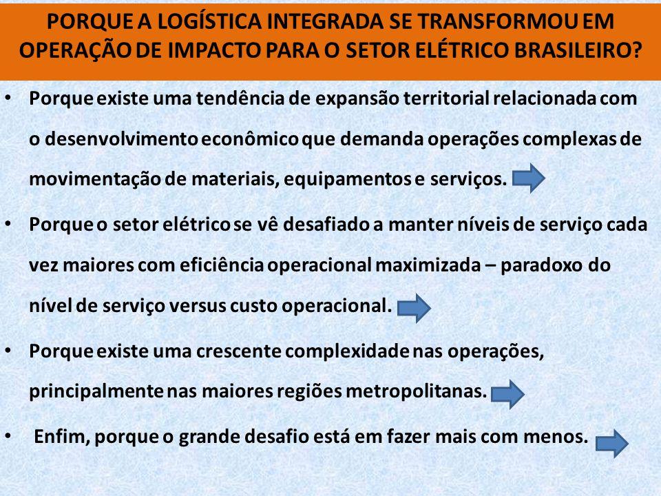 • Porque existe uma tendência de expansão territorial relacionada com o desenvolvimento econômico que demanda operações complexas de movimentação de materiais, equipamentos e serviços.