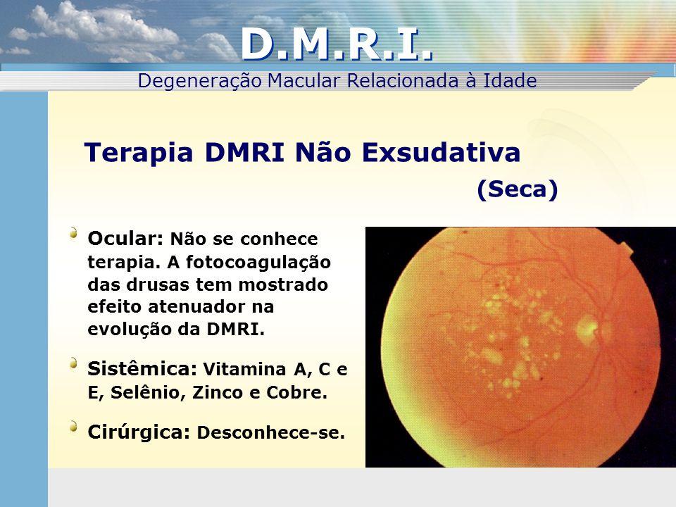 Ocular: Não se conhece terapia. A fotocoagulação das drusas tem mostrado efeito atenuador na evolução da DMRI. Sistêmica: Vitamina A, C e E, Selênio,