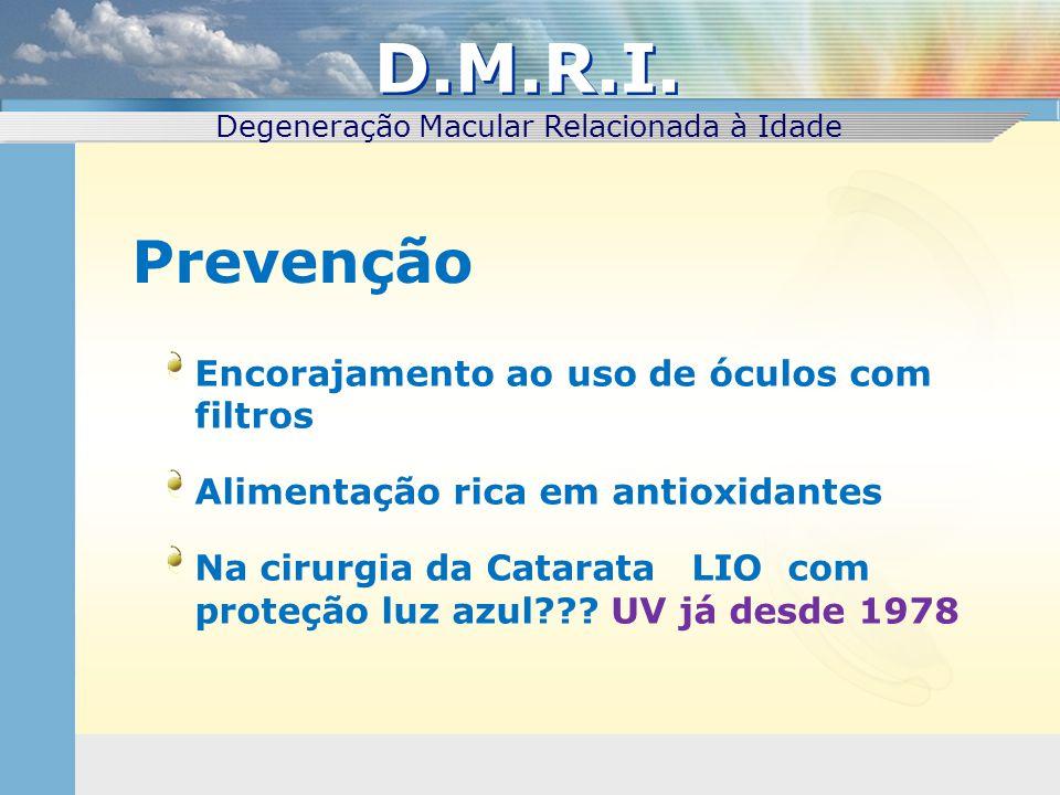 Encorajamento ao uso de óculos com filtros Alimentação rica em antioxidantes Na cirurgia da Catarata LIO com proteção luz azul??? UV já desde 1978 Pre