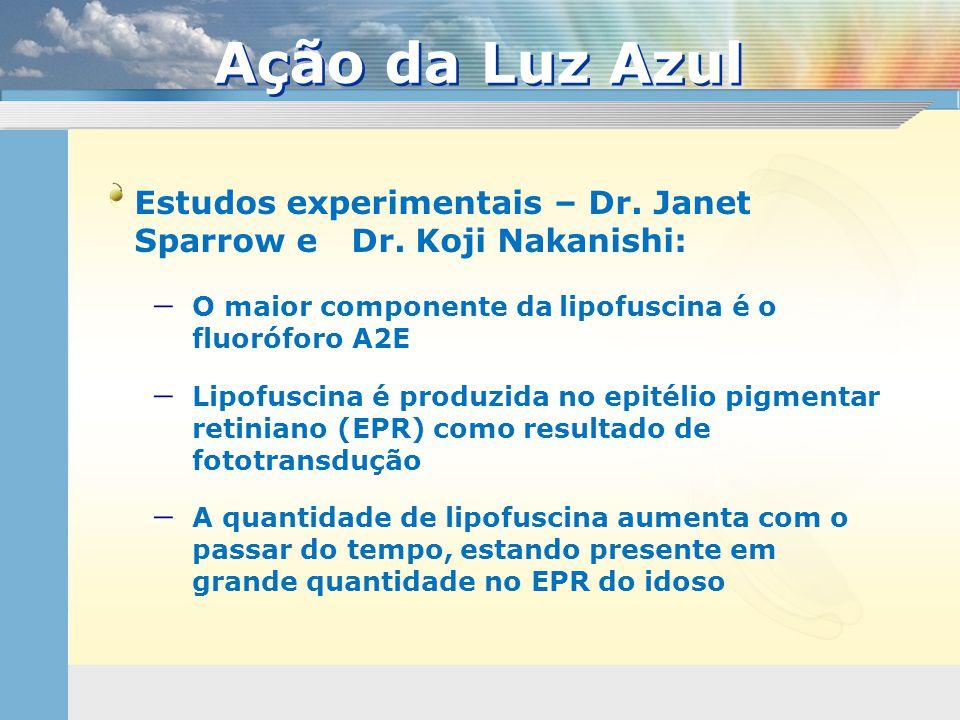 Estudos experimentais – Dr. Janet Sparrow e Dr. Koji Nakanishi:  O maior componente da lipofuscina é o fluoróforo A2E  Lipofuscina é produzida no ep