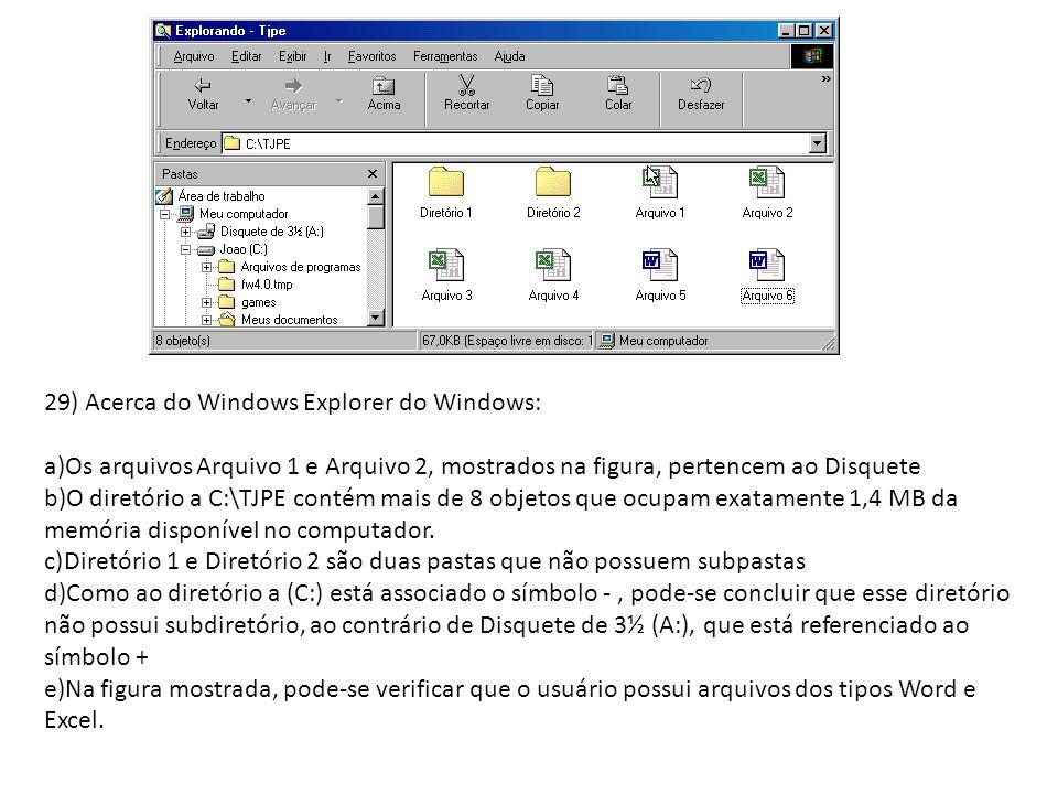 29) Acerca do Windows Explorer do Windows: a)Os arquivos Arquivo 1 e Arquivo 2, mostrados na figura, pertencem ao Disquete b)O diretório a C:\TJPE con