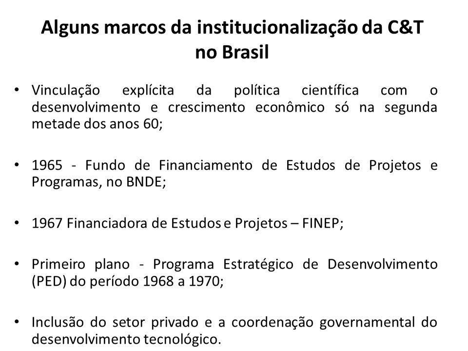 Alguns marcos da institucionalização da C&T no Brasil • Vinculação explícita da política científica com o desenvolvimento e crescimento econômico só n