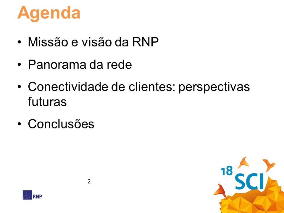 Agenda •Missão e visão da RNP •Panorama da rede •Conectividade de clientes: perspectivas futuras •Conclusões 2