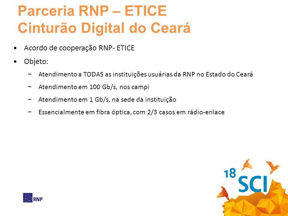 •Acordo de cooperação RNP- ETICE •Objeto: − Atendimento a TODAS as instituições usuárias da RNP no Estado do Ceará − Atendimento em 100 Gb/s, nos camp