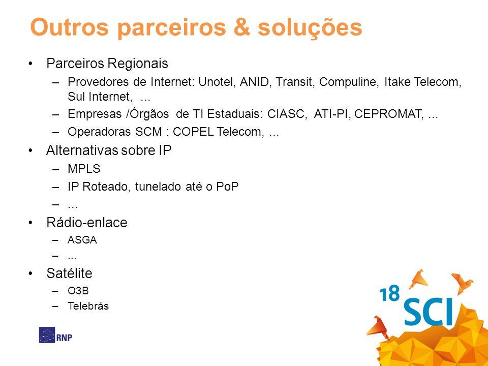 Outros parceiros & soluções •Parceiros Regionais –Provedores de Internet: Unotel, ANID, Transit, Compuline, Itake Telecom, Sul Internet,... –Empresas