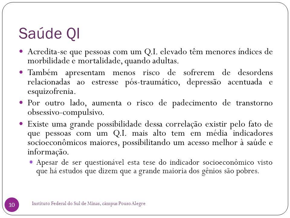 Saúde QI Instituto Federal do Sul de Minas, câmpus Pouso Alegre 10  Acredita-se que pessoas com um Q.I.