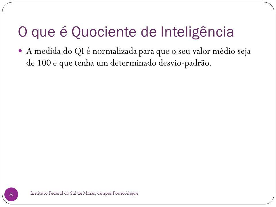 O que é Quociente de Inteligência Instituto Federal do Sul de Minas, câmpus Pouso Alegre 8  A medida do QI é normalizada para que o seu valor médio seja de 100 e que tenha um determinado desvio-padrão.