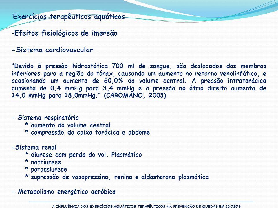 A INFLUÊNCIA DOS EXERCÍCIOS AQUÁTICOS TERAPÊUTICOS NA PREVENÇÃO DE QUEDAS EM IDOSOS 'Exercícios terapêuticos aquáticos -Efeitos fisiológicos de imersã